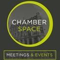 Small chamber space logo with strapline full colour gray backgound